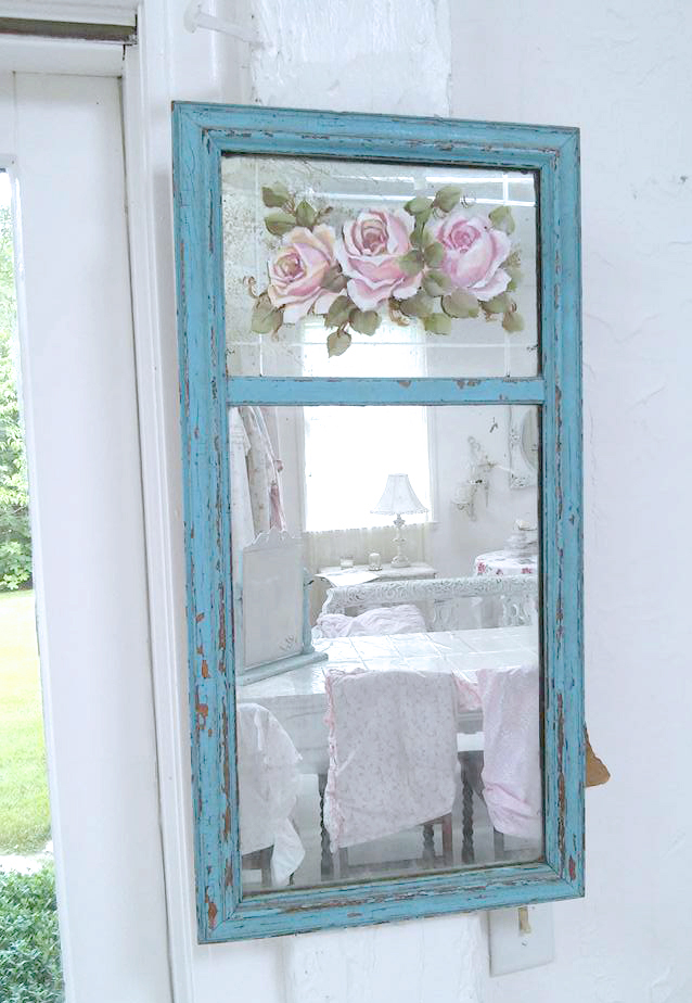 This Is A Beautiful Vintage Shabby Mirror With Etching On The Top Part Of Ling Paint And Stunning Pink Hand Painted Roses In Oils
