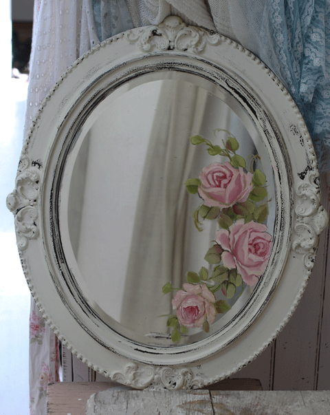 Hand Painted Roses Mirror Antique Wall Art Vintage