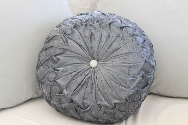 Tufted Round Decorative Pillow : Velvet Tufted Round Pillow Gray, french style, shabby chic, bedding, velvet, home decor, accent ...