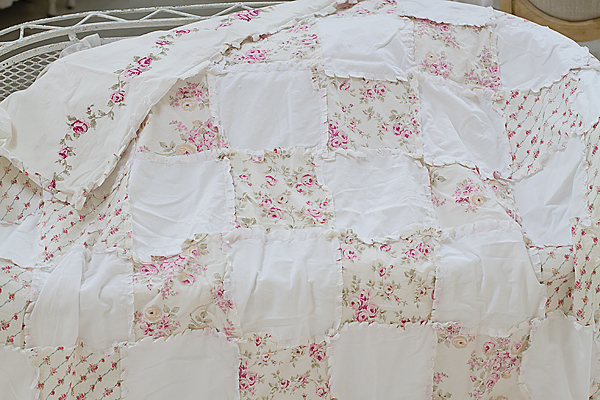 Shabby Chic Style Patchwork Quilt, Vintage Rose, Floral