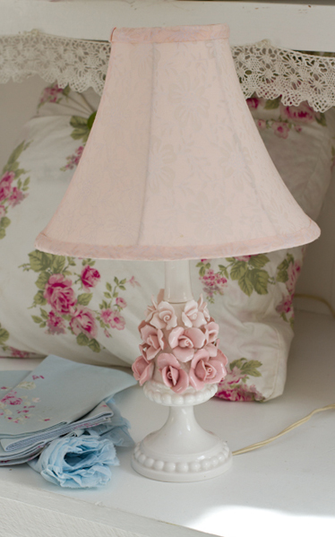 A Charming Vintage Lamp And Shade That Would Adore Any Room. The Base Has  Pink Roses On A White Milk Glass Base With A Pink Shade With A Floral  Pattern ...