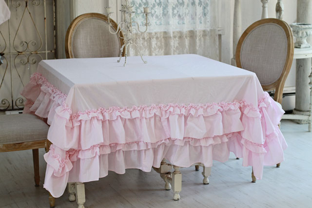 Ruffled Table Cloth Shabby Chic Style Pink Linens