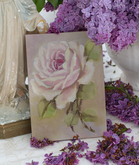 Rose Painting Original By Jo Anne Coletti Vintage Style