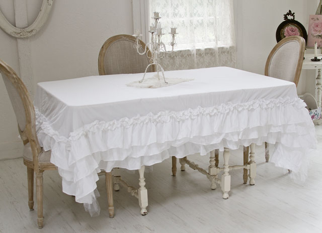 Ruffled Tutu Tablecloth Shabby Chic Linens Cotton Linens