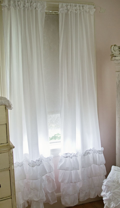 A Lovely Ruffled Curtain Panel Is OH SOO CHIC This White Cotton Blend With 4 Rows Of Ruffles And Mini Ruffle On Top The Larger