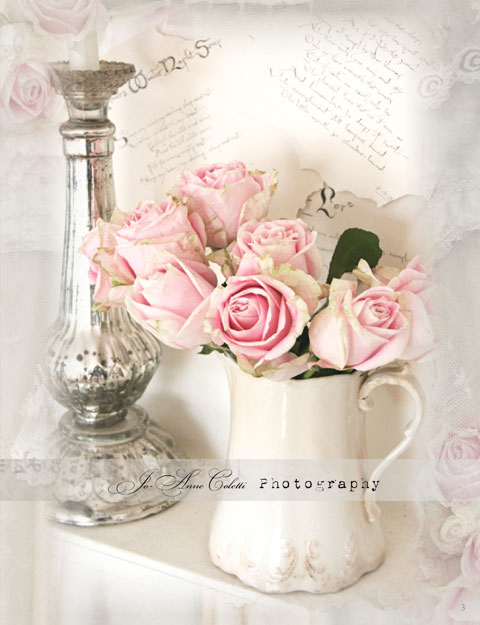 Paper Roses Note Cards-Shabby chic note cards, pink roses, romantic style, Jo-Anne Coletti photography, vintage roses