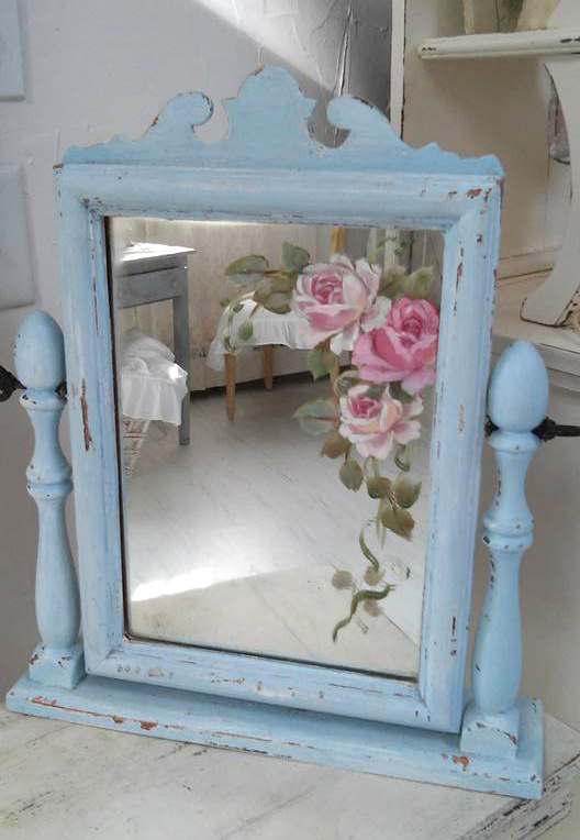 Hand Painted Blue Dresser Mirror-Antique mirror, hand painted roses, Joanne Coletti, vintage roses, antiques, french mirror,art work, pink roses