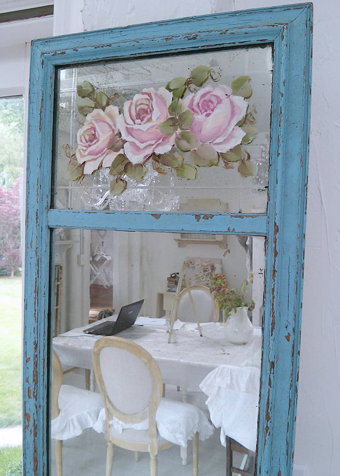 Shabby Hand Painted Mirror BLUE-Hand painted roses, vintage mirror, blue and pink, pink roses, vintage roses