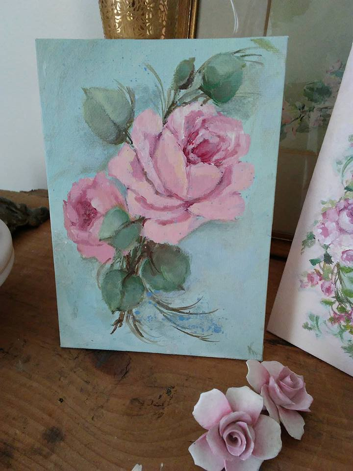 Roses on canvas Pink aqua backdrop-hand painted roses, vintage rose paintings, art, shabby chic, joanne coletti