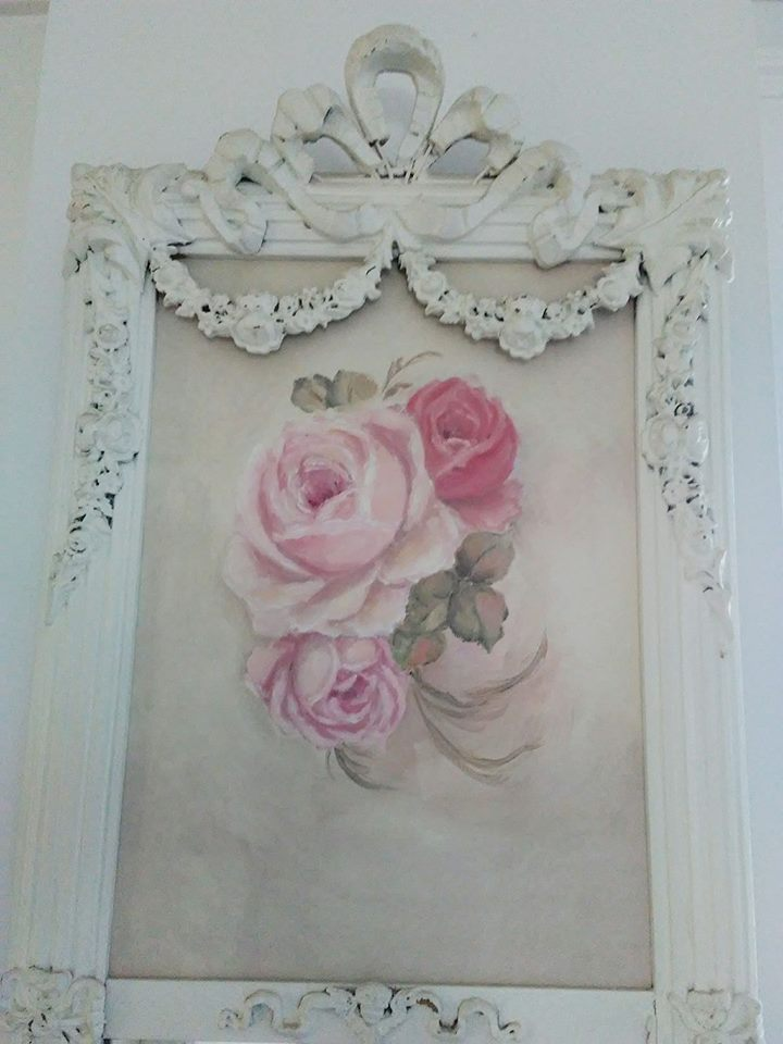 Ornate trumeau mirror mirror with Rose Painting Giclee-Trumeau Mirror. shabby mirror, antique painting, rose painting, joanne coletti, shabby chic,