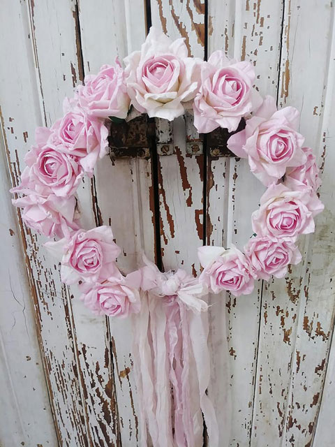 Pretty in PINK Boho Crown-boho, gypsy, floral, rose crown, wedding veil, flowergirl flowers, joanne coletti