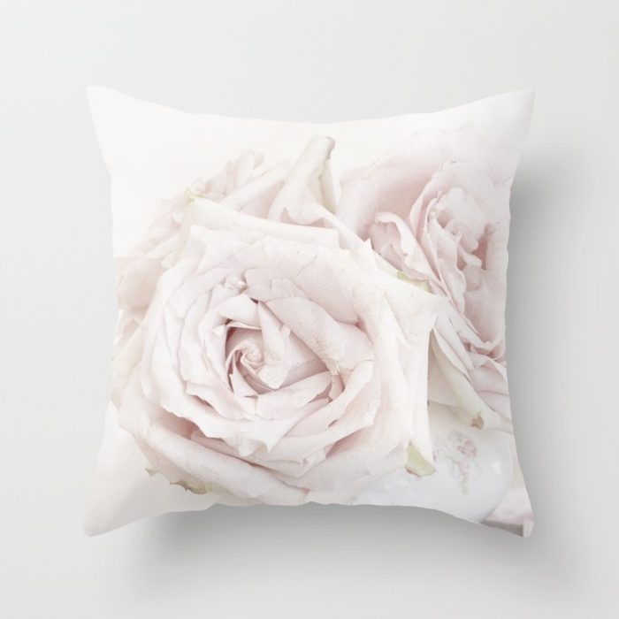 Rose Blush Pillow-rose pillow, shabby chic, pink roses, pillows