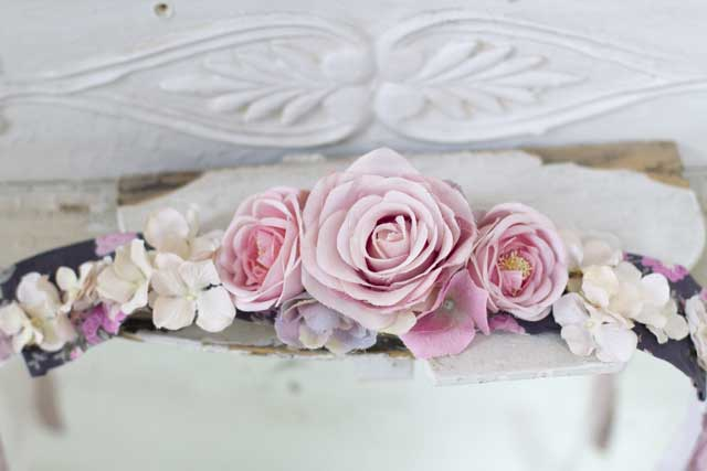 Mauve and Pink Roses Hair Wrap-Hair garland, weddings, rose crown, baby, roses, faux roses, joanne coletti, shabby chic, ribbon, pink roses