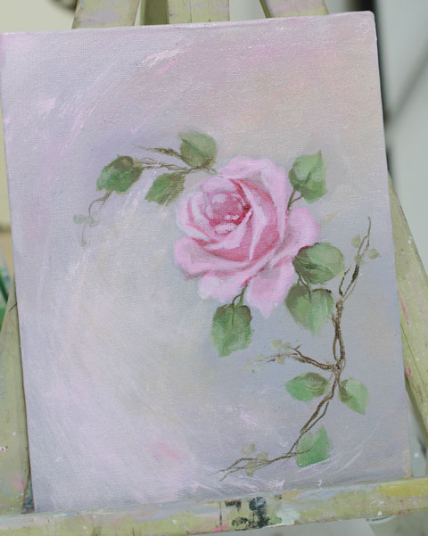 Anna Belle Original painting Wild Roses Collection-Roses canvas, pink roses, vintage rose, antique canvas prints, romantic art