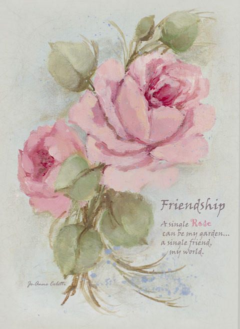 Friendship Note Cards-Rose note cards, stationery, shabby chic, joanne coletti, roses, vintage, post cards, paper, garden, paper roses