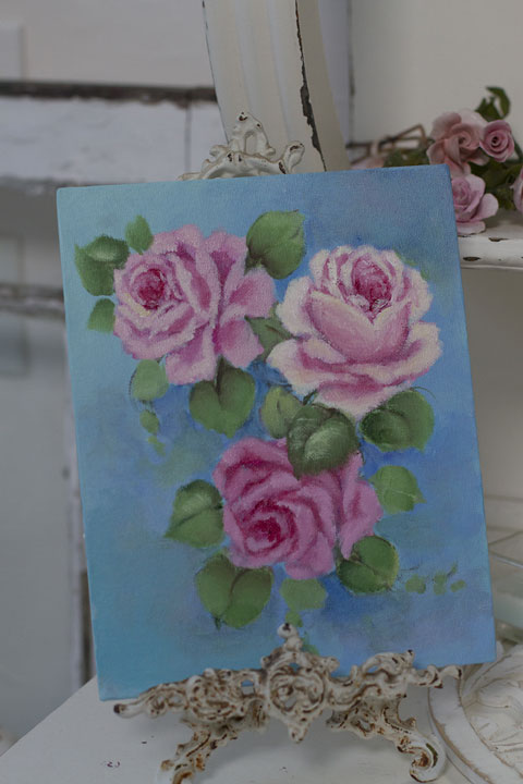 Indigo and turquoise ROSE Painting-rose painting, vintage rose painting, joanne coletti, romantic homes, shabby chic, pink roses, hand painted roses, canvas, art