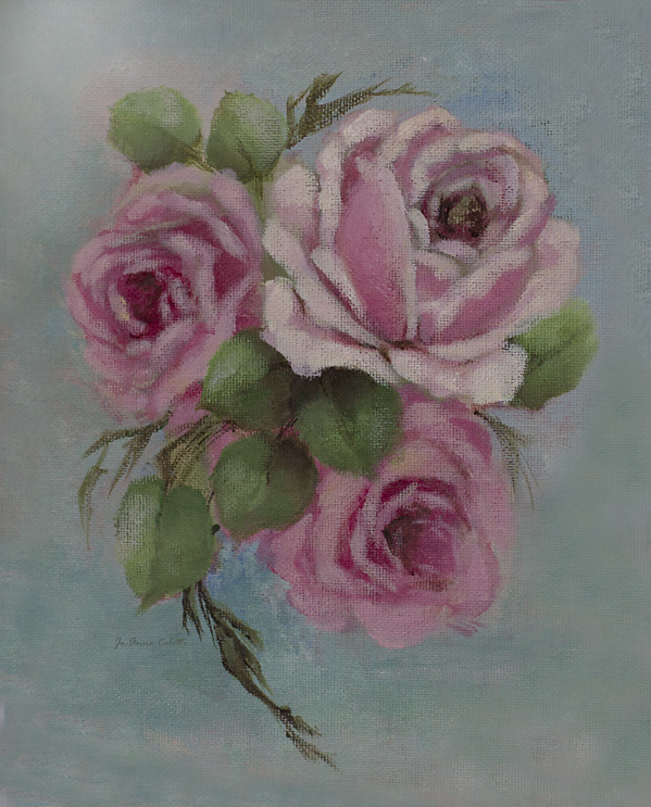 Blue Jean Roses Original Painting on canvas board-Rose painting, roses, vintage rose painting, romantic roses, joanne coletti, shabby chic