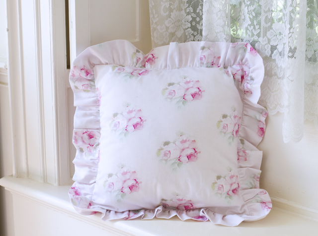 Boudoir Pillow Water Color-Rose pillows, ruffled pillows, pink bedding, shabby chic