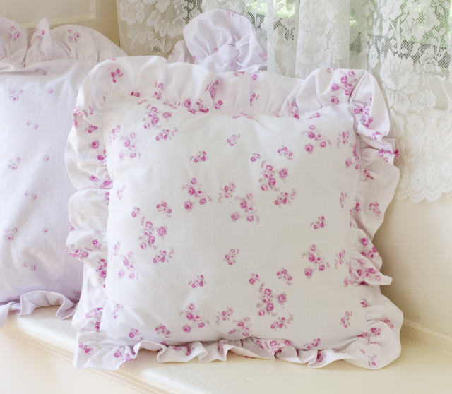 Boudoir Pillow Little Pink Roses-Boudoir Pillow Little Pink Roses, shabby chic pillows, joanne coletti, cottage pillows, pink bedding, ruffled pillows