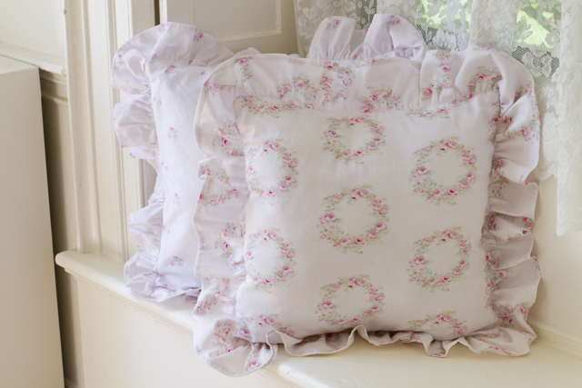 Wreath pink rose pillow-Pink rose pillows, pink bedding, shabby chic, joanne coletti