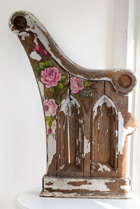 Antique Church Pew Hand-painted Roses-Romantic hand painted roses, antique church pew, vintage statuary,shabby chic style, vintage roses, Jo-Anne Coletti