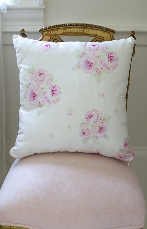 Pink Cabbage Roses Pillow-rose pillow, joanne coletti, bedding, pink roses, shabby chic, slipcovered pillow
