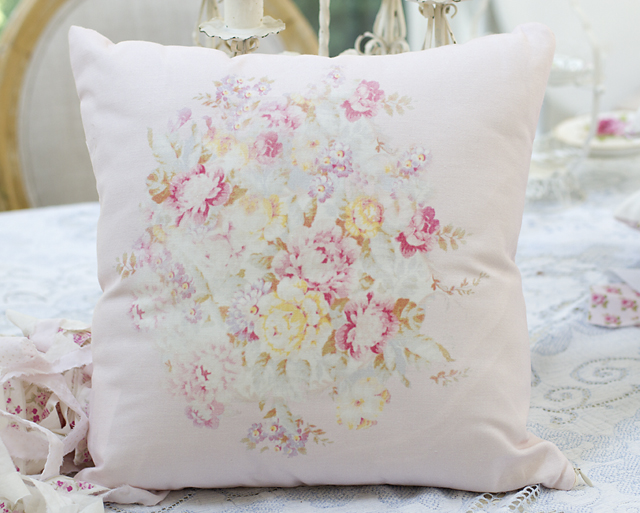 Floral Bouquet Pillow-Vintage pillows, barkcloth rose fabric, rose pillows, shabby chic, joanne coletti, pink bedding