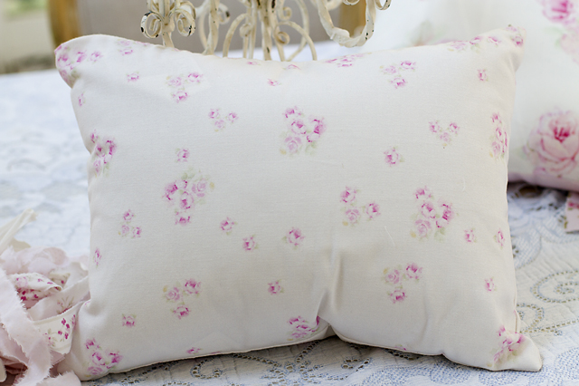 Petite Rosebud Pillow-rose pillow, shabby chic, joanne coletti, bedroom, pink roses, bedding