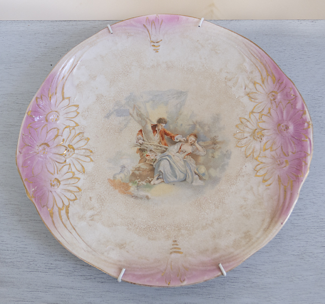 Antique Pink Maiden Plate-antiques, decorate plate, RS Prussia, china, plates, joanne coletti