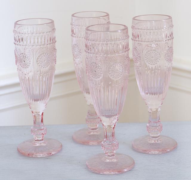 Pink Champagne Flutes-Pink Champagne Flutes, pink, glasses, shabby chic, joanne coletti, romantic home