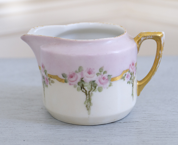 Porcelain Hand Painted Creamer-Porcelain cream, france, french china, joanne coletti, dishes, kitchen, tea, coffee