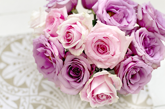 Pink and Lavender Roses Note Cards