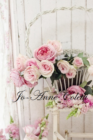 Basket of Roses-Shabby chic style note cards, antique basket, invitations, romantic homes magazine, joanne coletti, roses