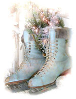 Christmas Skates-shabby chic note cards, romantic stationary, Jo-Anne Coletti